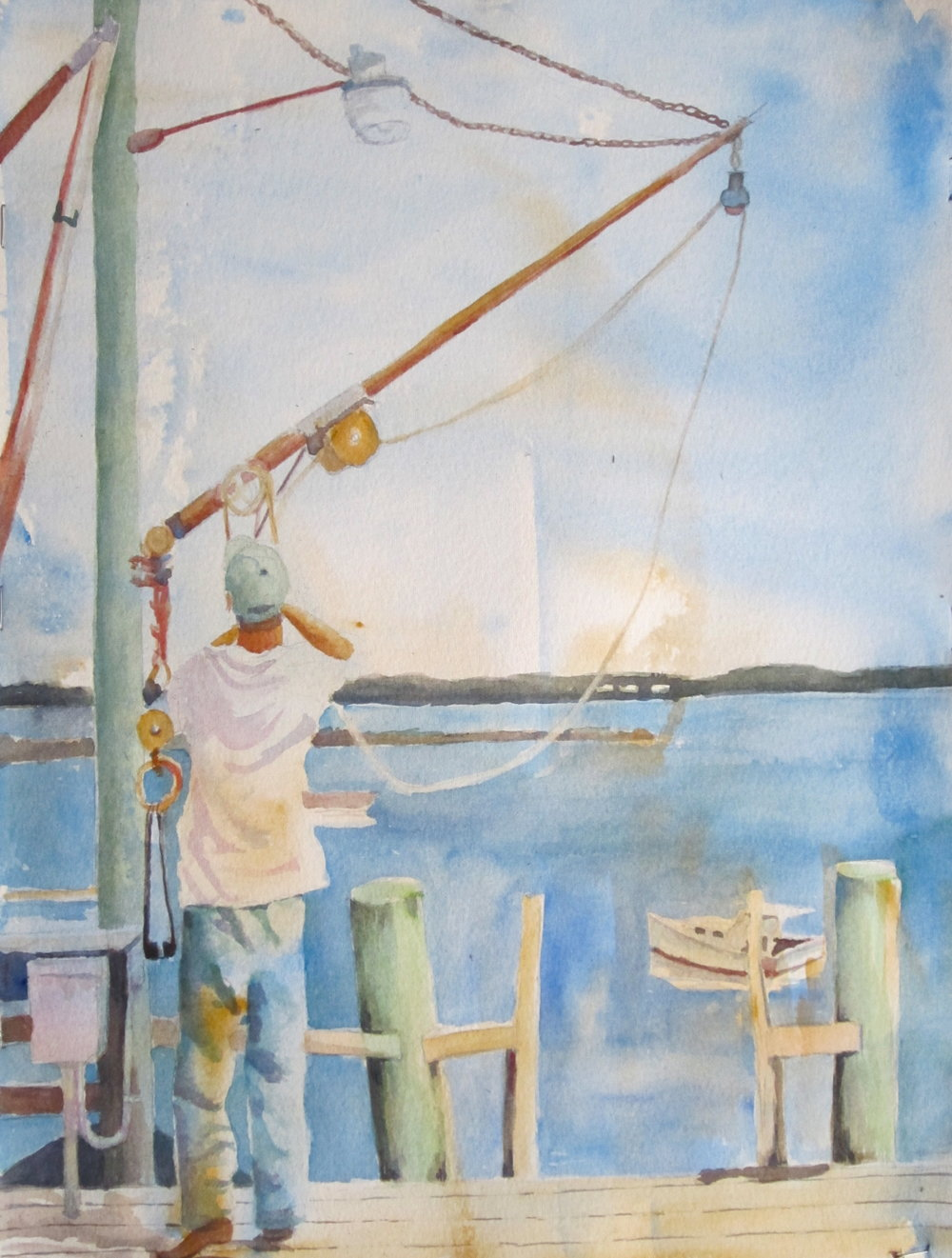 Voila! The Bait Hauler is complete! Leaving white spaces, using complementary colors and 'going with the flow' resulted in a great plein air painting.