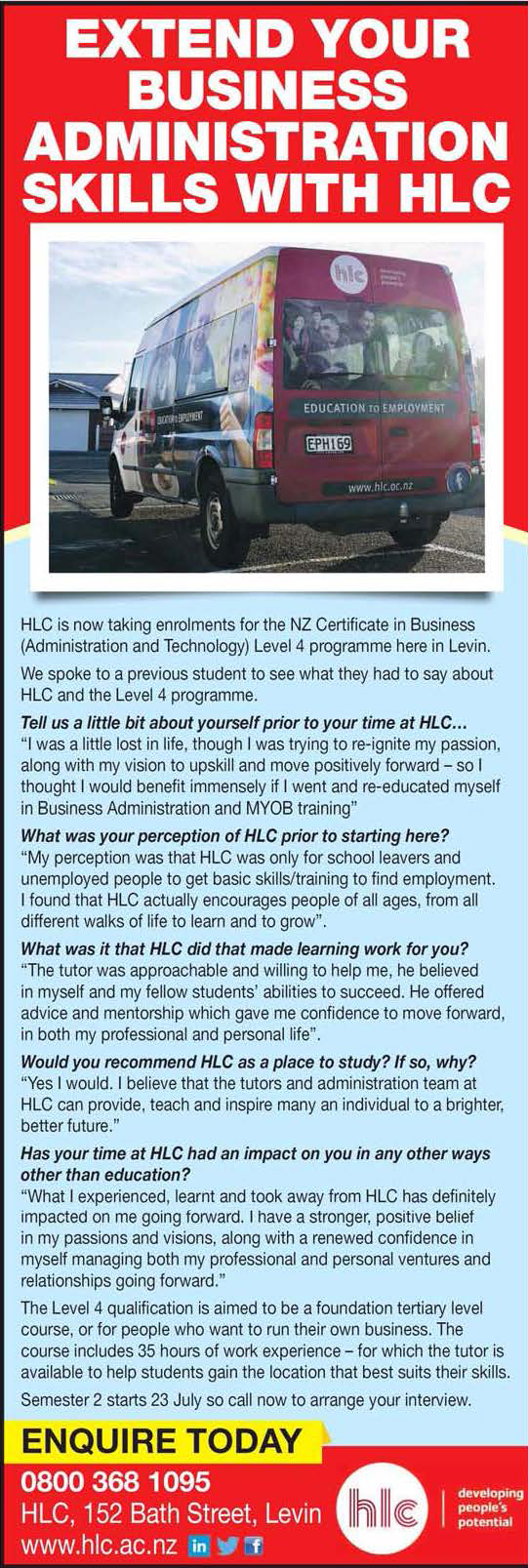 Extend your business administration skills with HLC