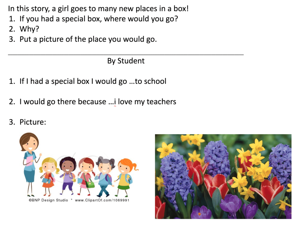 An example of a differentiated writing prompt that includes numbers to prompt the student to write the sentences in order.