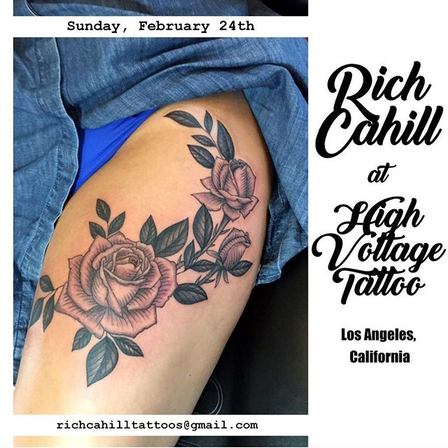 I'll be in LA tattooing @highvoltagetat Sunday February 24th please email richcahilltattoos@gmail.com  to schedule. Thanks!