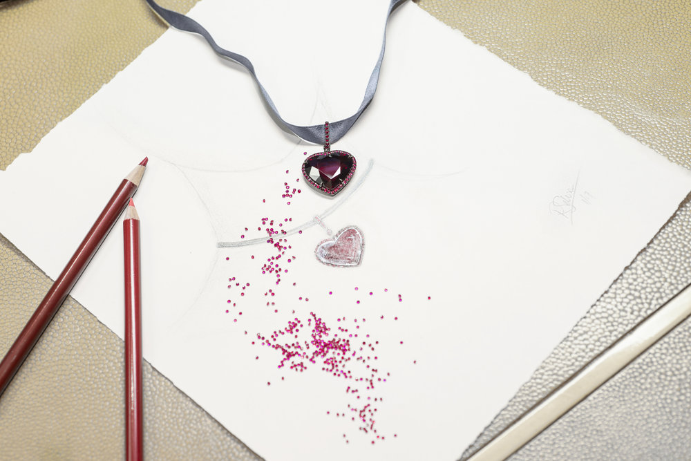 Fred Leighton Heart Pendant - with sketch - photo by Andrew Werner AHW_6234.jpg