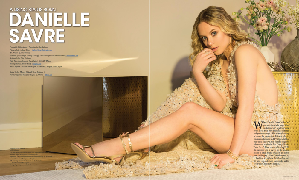 Danielle Savre by photographer Andrew Werner, Resident Magazine March 2017 - page 1 & 2.png