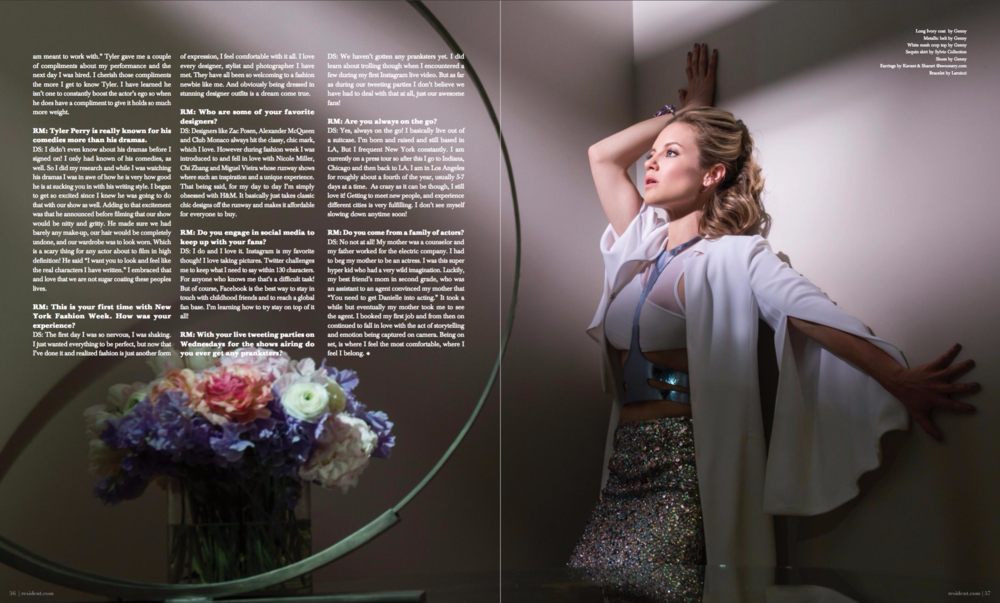 Danielle Savre by photographer Andrew Werner, Resident Magazine March 2017 - page 5 & 6.png