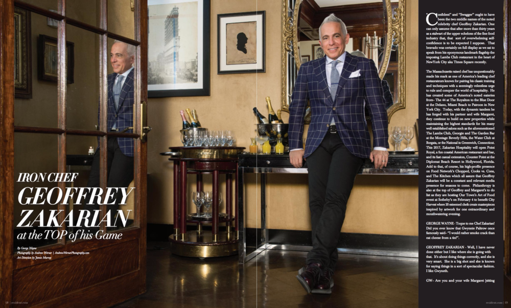 Geoffrey Zakarian by photographer Andrew Werner for Resident Magazine - spread pages 1 & 2.png