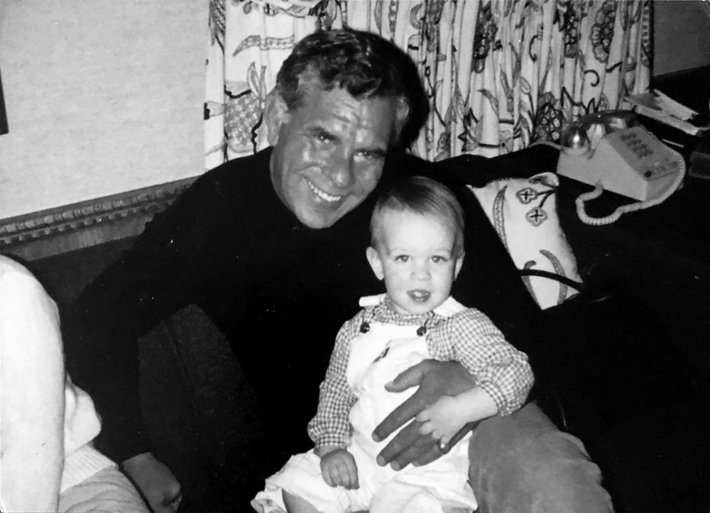 Bill Wirtz holding his first grandchild—Rocky's son, Danny Wirtz— at his home in Winnetka in 1978.