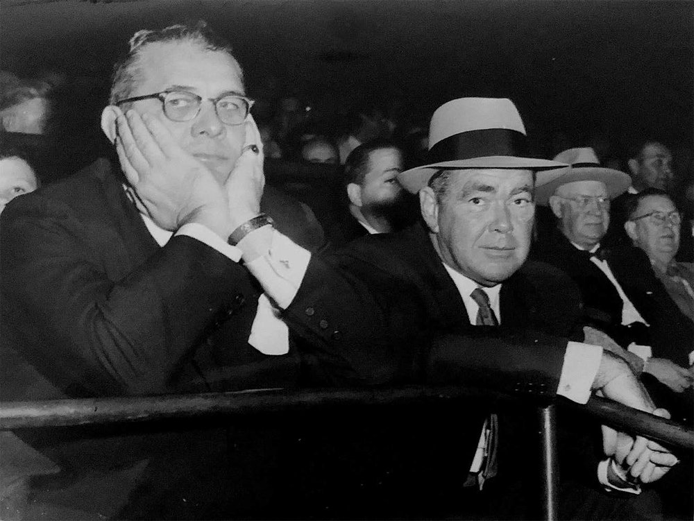 Arthur, seated next to partner Jimmy Norris, at Madison Square Garden.