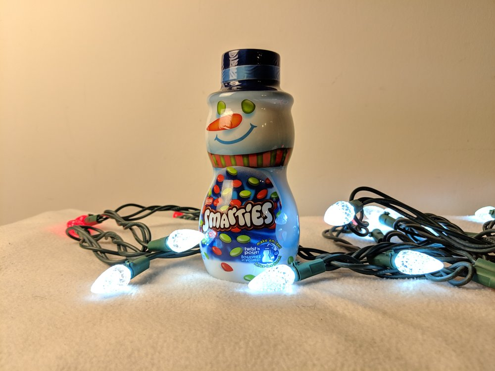 smarties snowman canister christmas