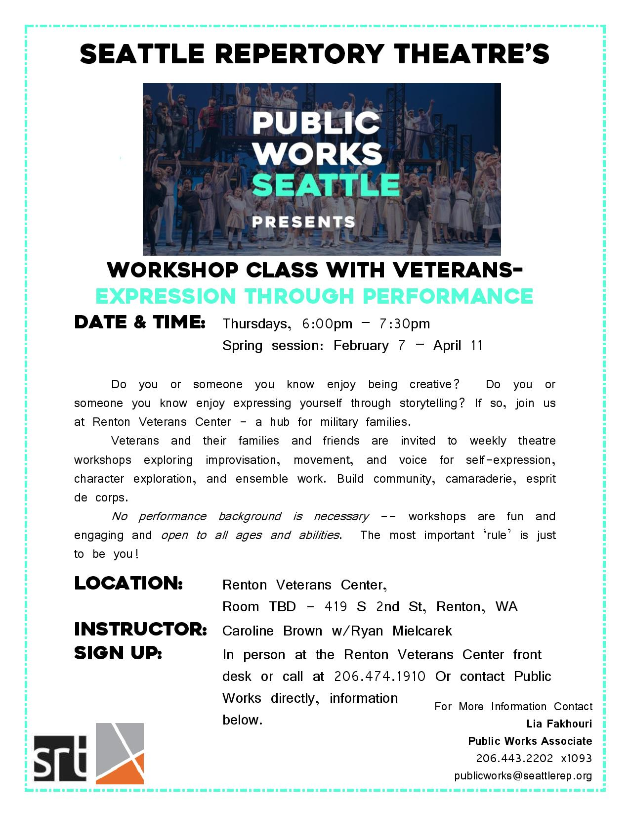 Acting Workshops for Veterans and Families with Seattle Rep Public