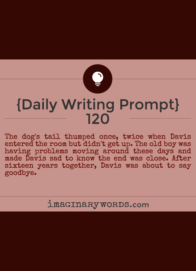 Daily Writing Prompts: The dog's tail thumped once, twice when Davis entered the room but didn't get up. The old boy was having problems moving around these days and made Davis sad to know the end was close. After sixteen years together, Davis was about to say goodbye.