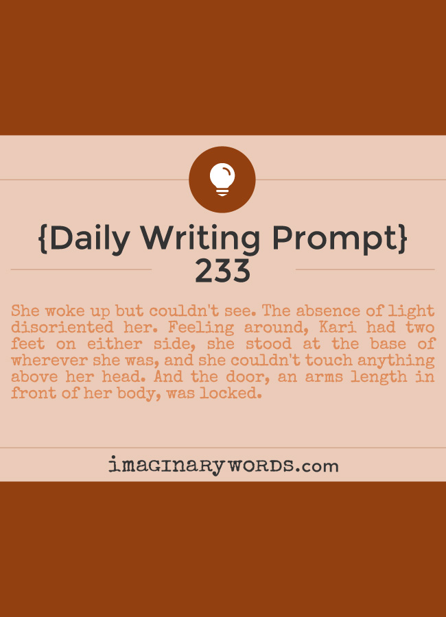 Daily Writing Prompts: She woke up but couldn't see. The absence of light disoriented her. Feeling around, Kari had two feet on either side, she stood at the base of wherever she was, and she couldn't touch anything above her head. And the door, an arms length in front of her body, was locked.
