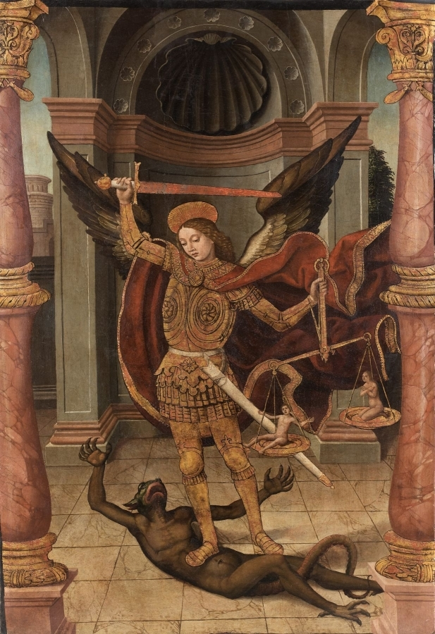 Saint Michael slaying the demon.   Pedro Romana (active in Cordoba between 1488 and 1529),