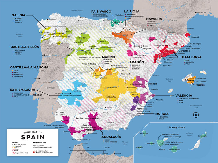 Spanish wine regions. FYI every single one of the 17 autonomous regions in Spain has a wine region.  Image credit .
