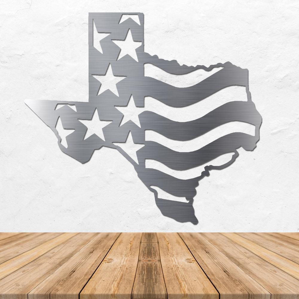 Texas Stars Stripes Metal Wall Art 19 X 17