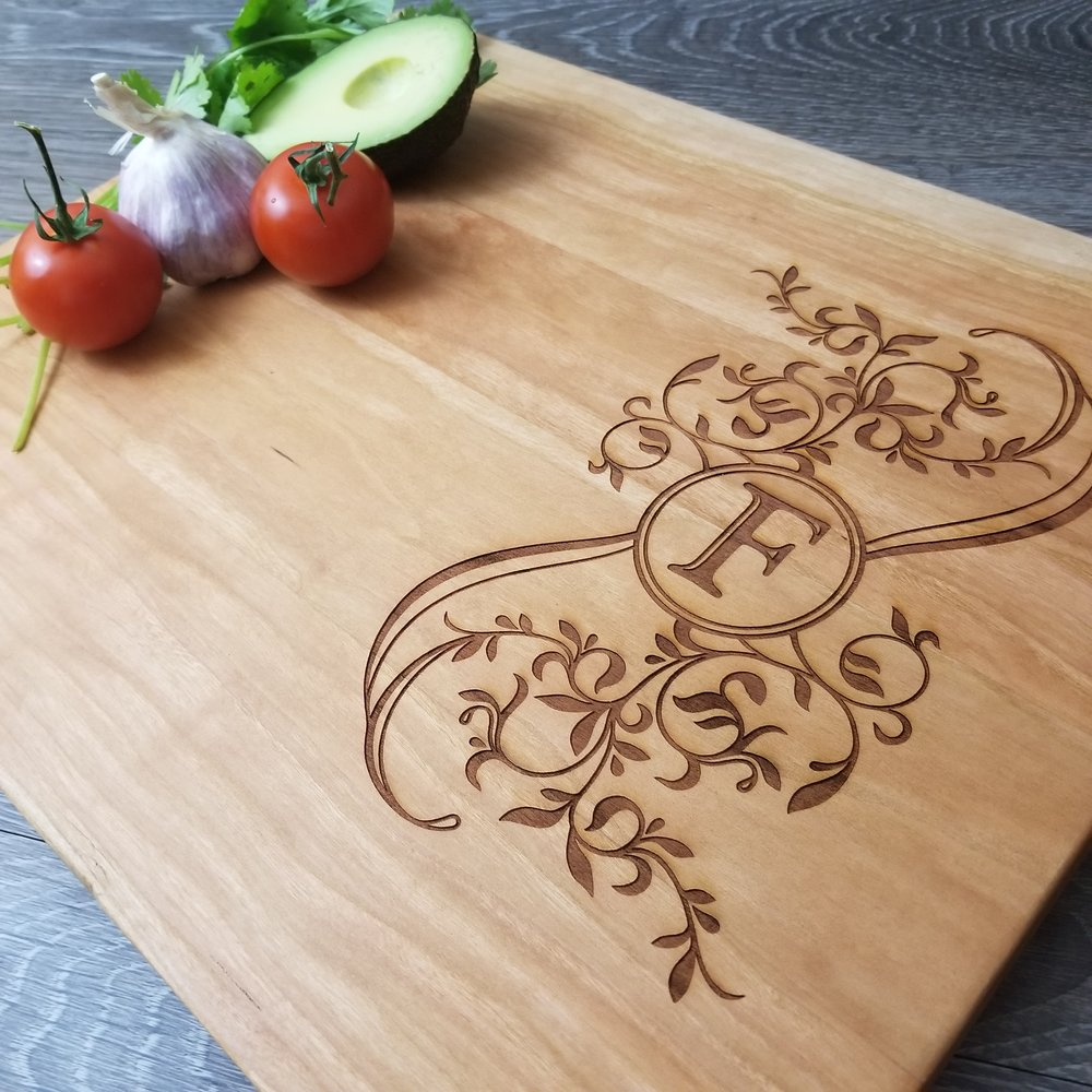 "Personalized Wood Cutting Boards - We've done the work to find the 5 best wood types for cutting boards. Now, all you have to do is choose the one you like best. Our wood cutting boards are available in 2 standard sizes: 12""x15"" and 6""x15"