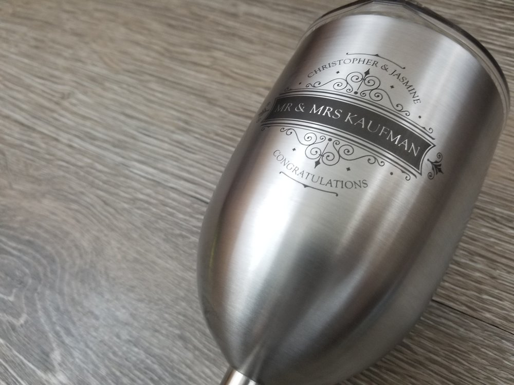 Stainless Steel Wine Glass - These 10 oz double walled stainless steel Wine Glasses are sure to be appreciated! Includes Triton Lid, BPA Free, and holds ice up to 24 Hours. Dress them up with monograms, names, logos, etc$59.99