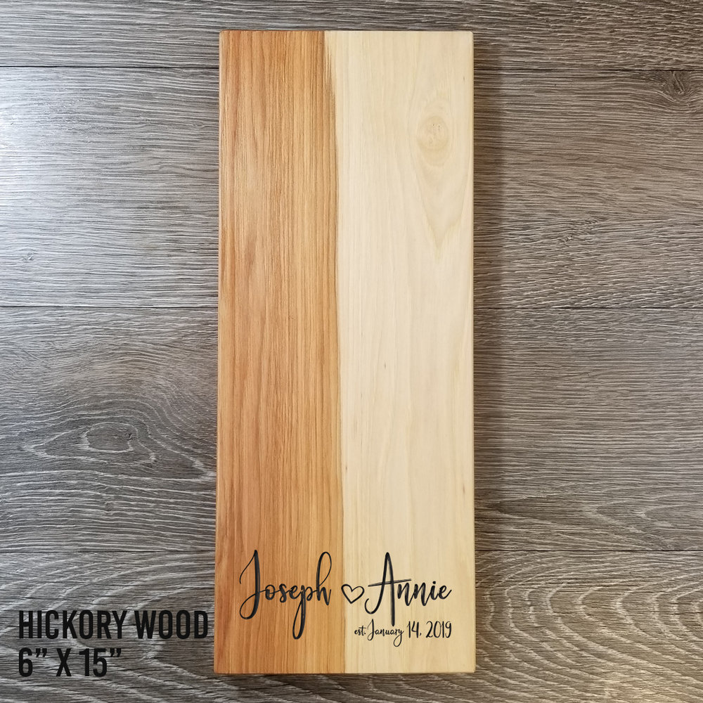 """Hickory WoodCheese Board - $74.996"""" x 15""""(**orders placed after an item has sold out will be fulfilled once our new inventory arrives. please contact us if you have any questions.)"""