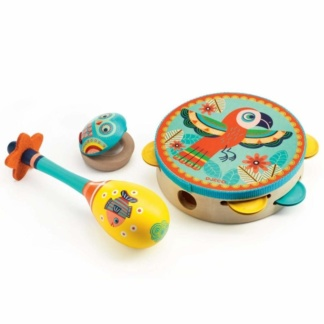 Music set - Your kids might love music, and would like to learn how to play an instrument. Get them introduced with a play version first, like these wooden instruments from Clever Little Monkey