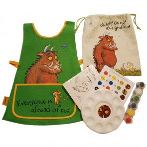 Gruffalo paint set - If you have a budding Picaso, invest in an apron (to safe your kid's clothes) as well as a beautiful bag to keep all her supplies in. This beautiful themed art set is from Fine and Fabulous