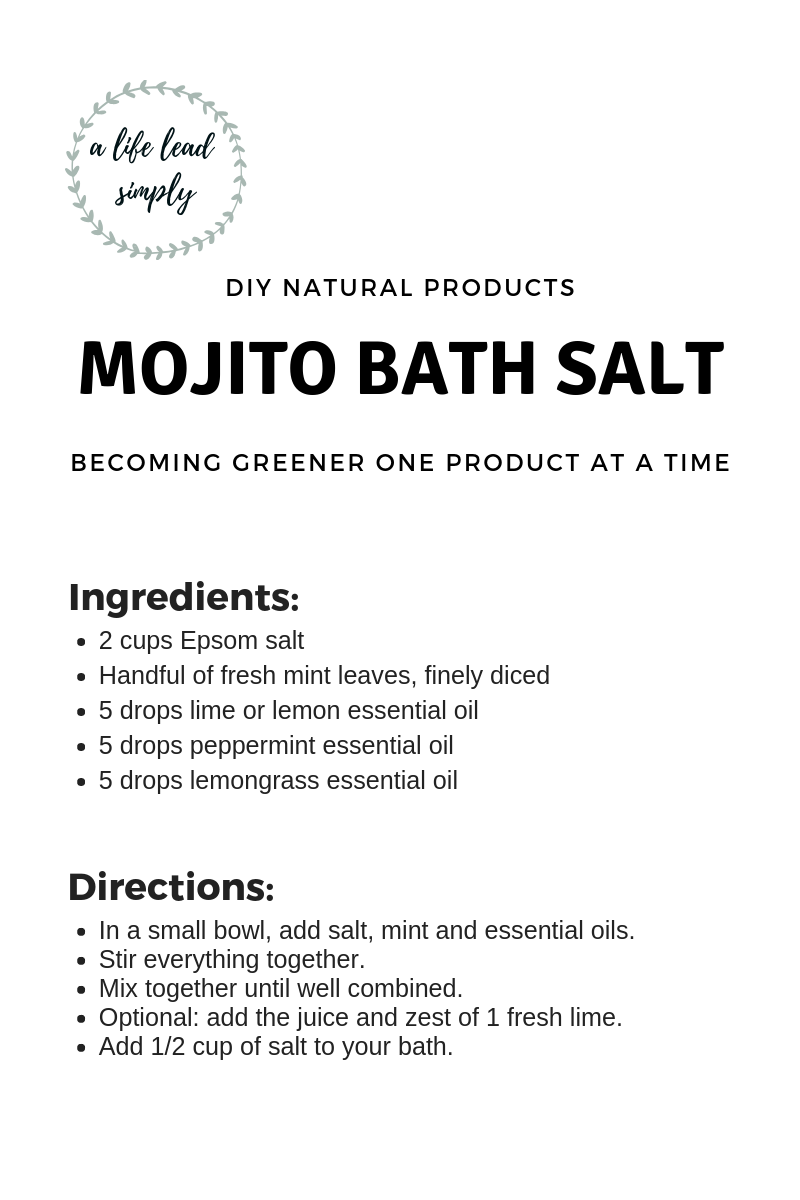 Mojito bath salt, Zero waste DIY, Essential oil, A life lead simply