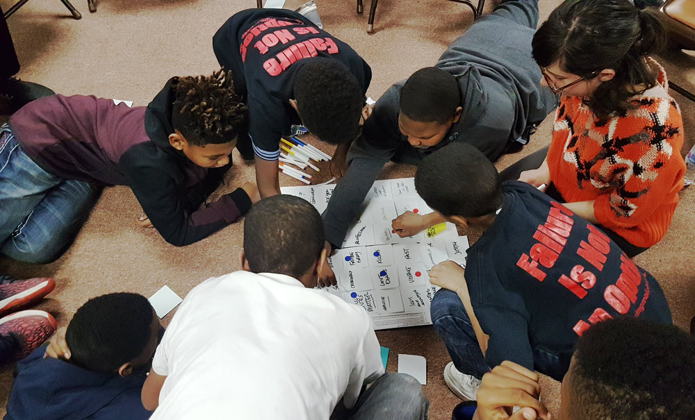 Boys in West Baltimore explaining how the relationship between police and youth could be improved: most ideas included eating food together, playing sports together and having officers help them reduce bullying among their peers.
