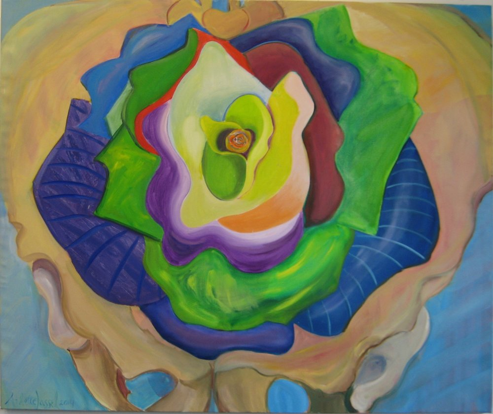 "Green Rose in Pelvis Bone 54""x 60"" 2014 oil on canvas  $2100"