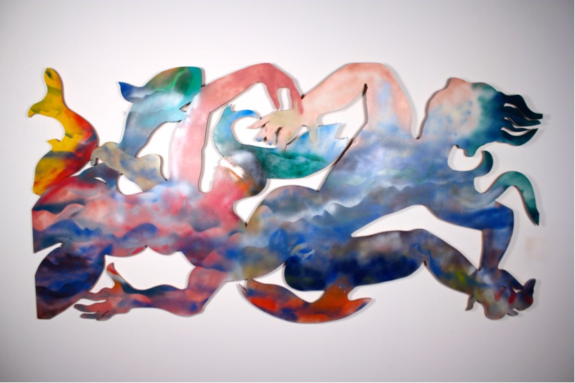 "As the Seas Rise 48""x96"" 1999 enamel on wood  $5500"
