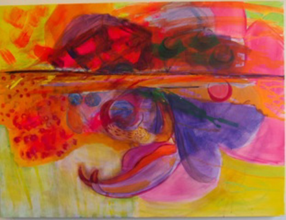 "Surfacing 30""x40"" 2011 acrylic on canvas  $950"