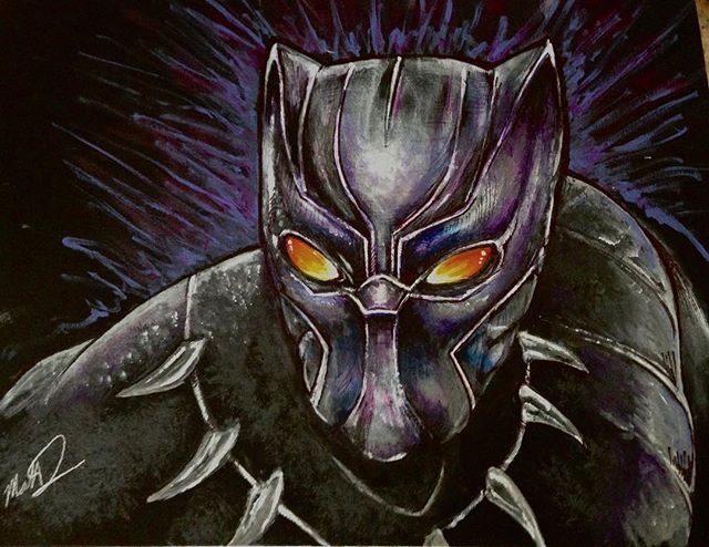 Commissioned trade for a buddy. #blackpanther #marvelsblackpanther #thegrumpypumpkin #doughertybirds #monstersofthecreek #acrylicpainting #comicbookart #tradedartford&d