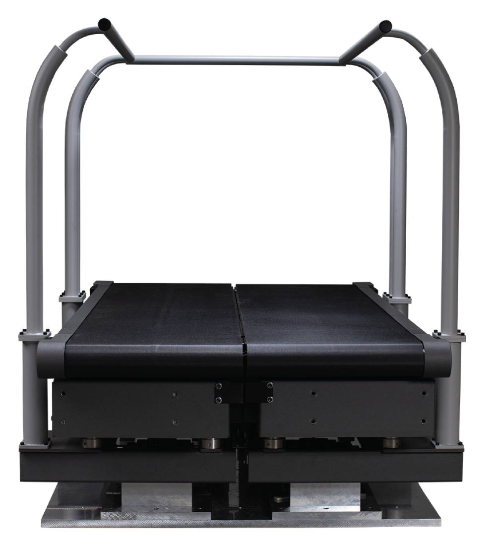 Unique design - Meticulously designed, the Bertec Fully Instrumented Treadmill is a split belt system with each side controlled independently (or synced) in both forward and reverse directions. With optional instrumented handrails and incline systems, you can expand your studies to collect more scenarios including upper and lower body forces in uphill or downhill setups.