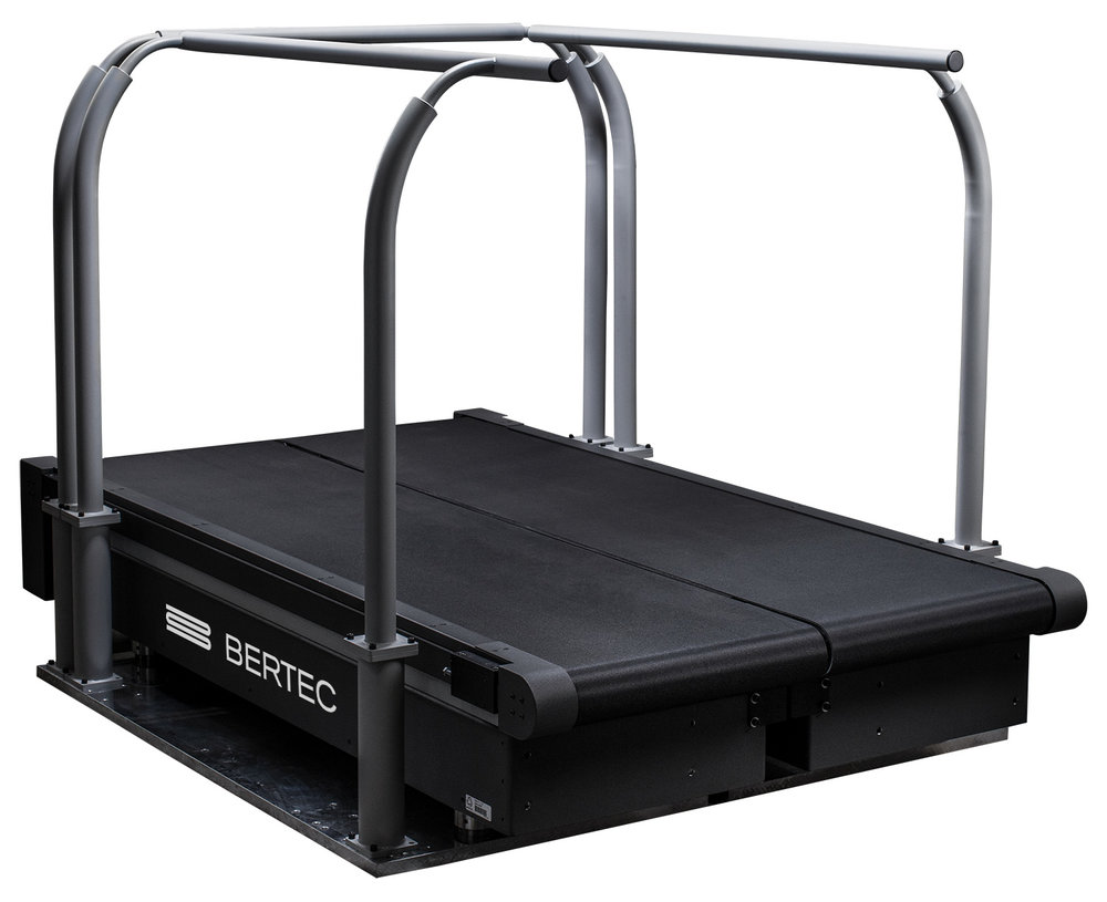 Instrumented Treadmills - Bertec's instrumented treadmills act as an endless walkway with split belts, which can be controlled independently in both forward and reverse with high precision at desired speeds and accelerations. The Bertec treadmill allows researchers to reduce gait laboratory space requirements and remove the limitations inherent in a traditional gait walkway. The unique design features result in superior dynamic characteristics and a high natural frequency making it the best research-grade fully instrumented treadmill.Learn More