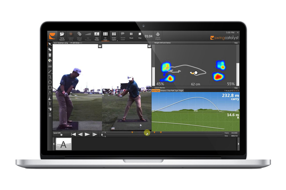 Professional Grade 2-D video analysis - In addition to the force plates, cameras are used with a full suite of drawing tools for video analysis. Swing Catalyst software provides features that make it easy to record lessons, compare swings, manage data, and post video lessons online to reach a wider audience. The astute coach will quickly become an expert in applied biomechanics.