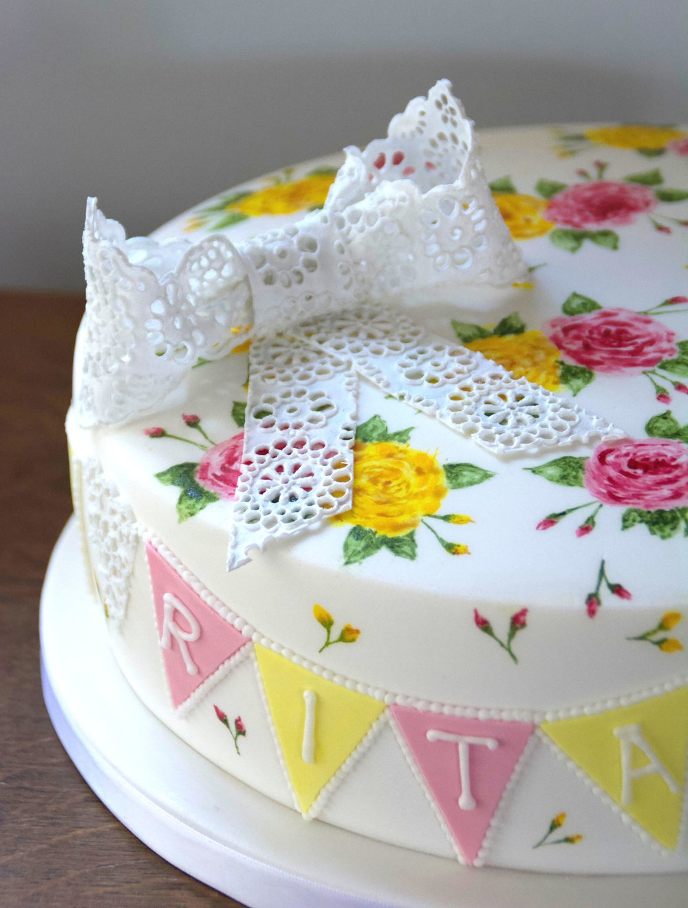 Vintage cake with hand painted roses