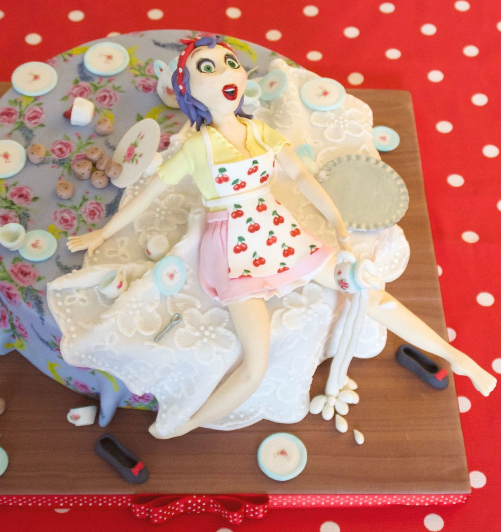 Pin up girl waitress birthday cake