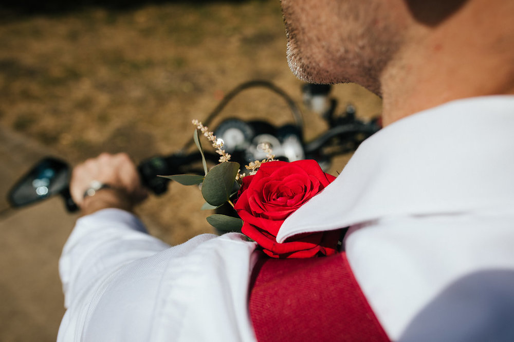 Red rose and eucalyptus buttonhole
