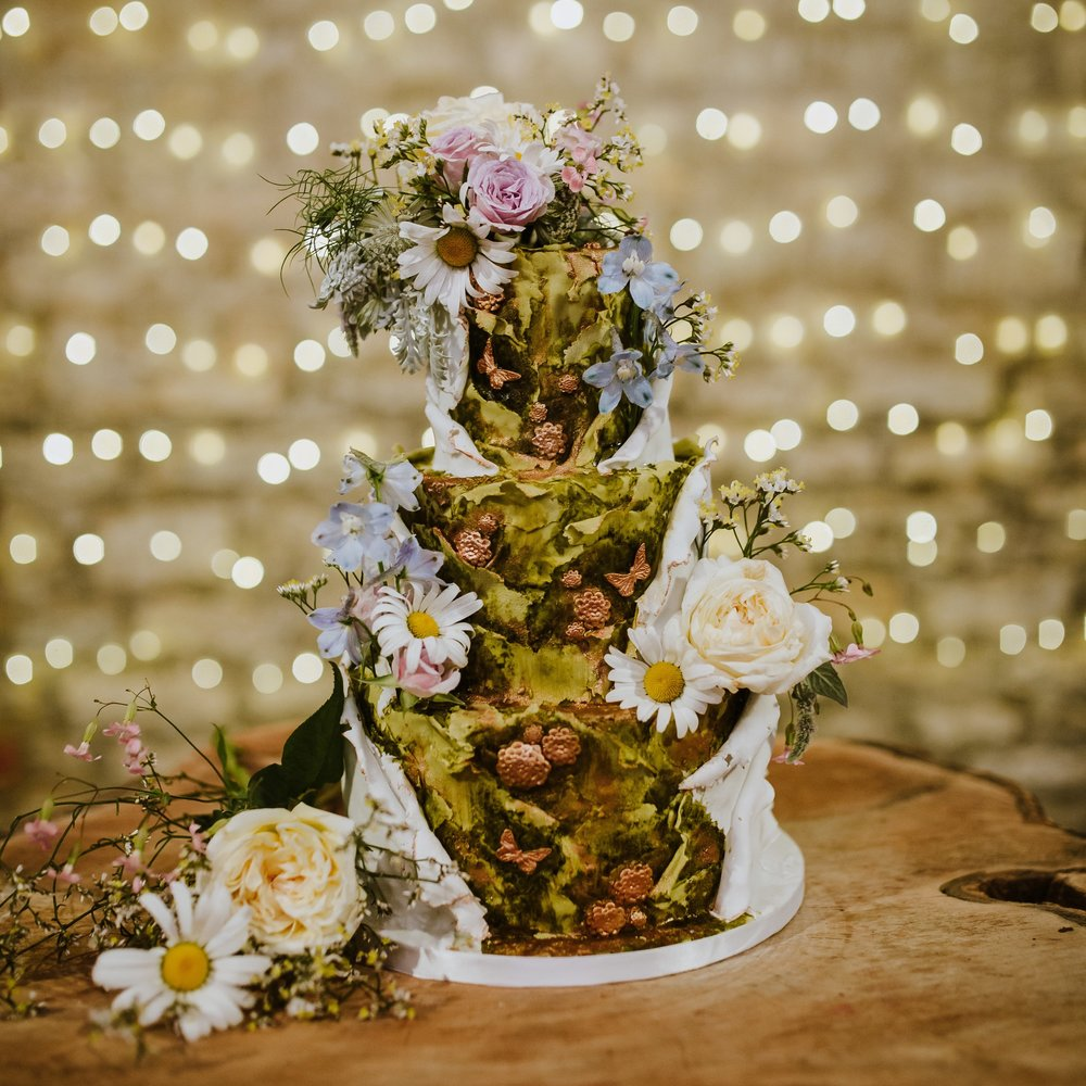 Secret garden woodland wedding cake
