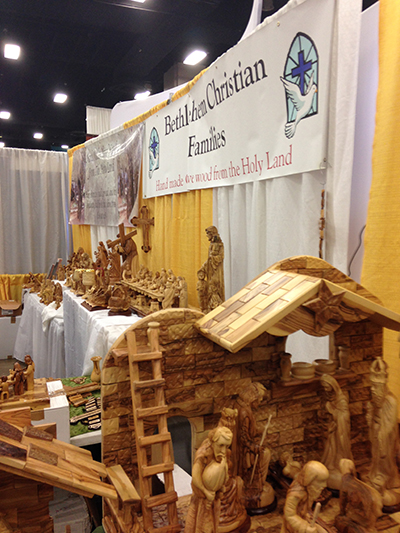 Cool wood structures from this booth. Don't know if they'd like Antonio touching them, though.