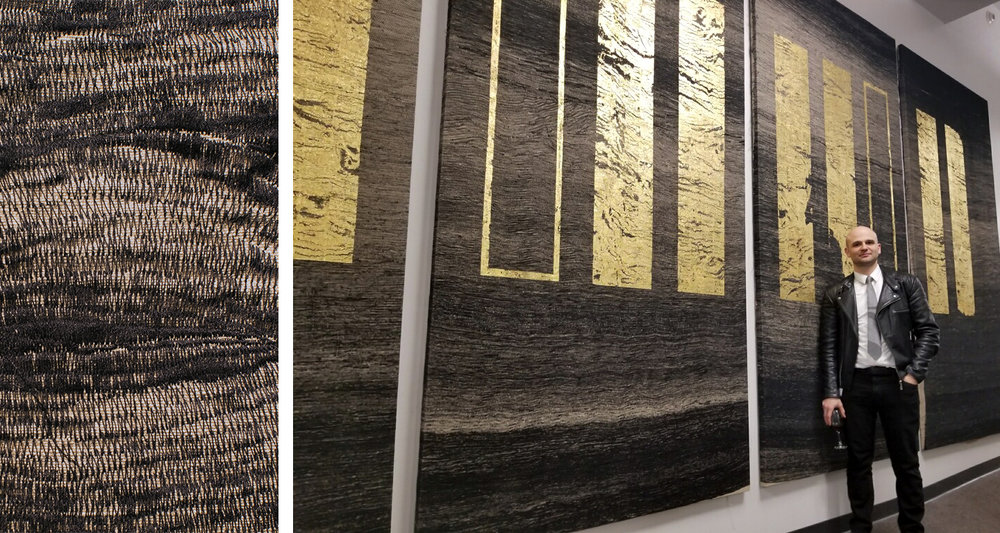 Next Year You'll Wish You Started Today, 2018. 72 miles poly thread, 24kt gold on linen 240 x 120 inches