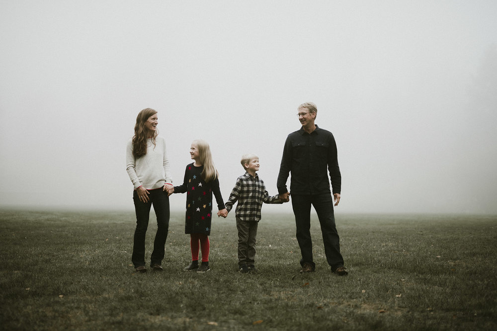 seattle family in the fog