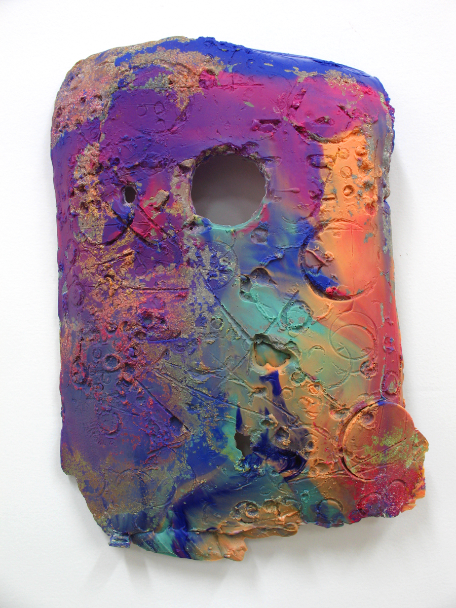"Jeff Ostergren,  Death Mask (Pink and Blue)  - Cast plastic, Loestrin (birth control), Ciprofloxacin, Zoloft, Strattera, Viagra, pigment - 2017 - 14"" x 9"" x 3"""