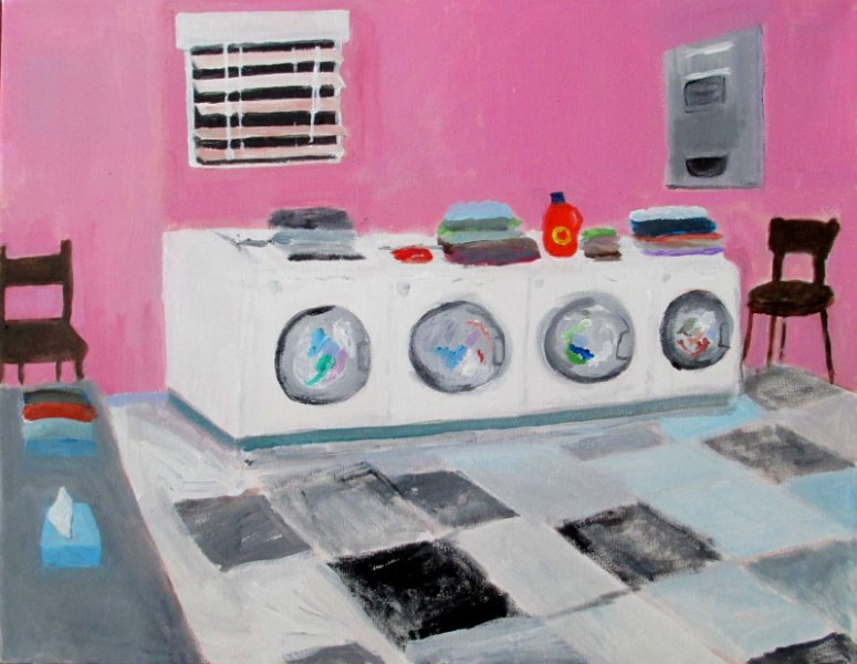 "Polly Shindler,  Laundromat,  2017, Acrylic on canvas 11"" x 14"""