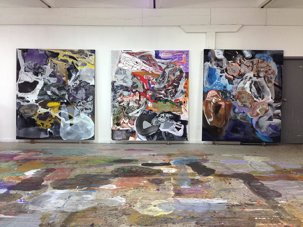 studio view from 2017: left to right: 1.  what a simple thing it seemed ,  that vast yellow light sailing slowly  2.  pachinko's whirl  3.  zombie