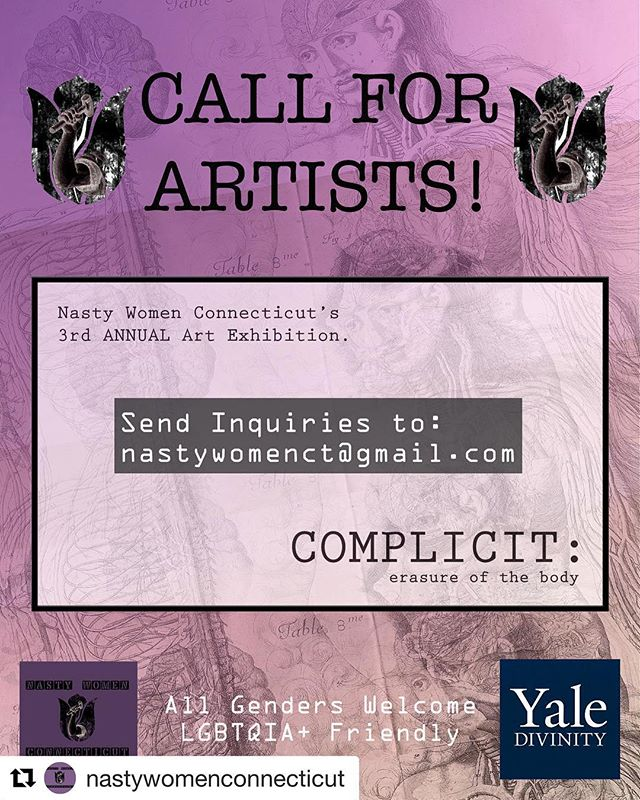 #Repost @nastywomenconnecticut with @get_repost ・・・ Our annual open call is here. Submit your work now and join us! Link in profile. Thank you @yaledivinityschool for hosting us in collaboration and solidarity. Free and welcome to all! #metoo #complicit #erasure #yale #opencall #nhv #arts #feminism #intersectionalfeminism #intersectionality #activism #socialjustice #community #collaboration #endsexualviolence #body #complicity #yale #artists #buildingcommunities #believesurvivors #timeisup @taranajaneen @neaarts @npr @womeninthearts #neutrality #voices #silencebreakers @firststop.art @ctforum  @ct_artlist @endsexualviolence_ct @collabct