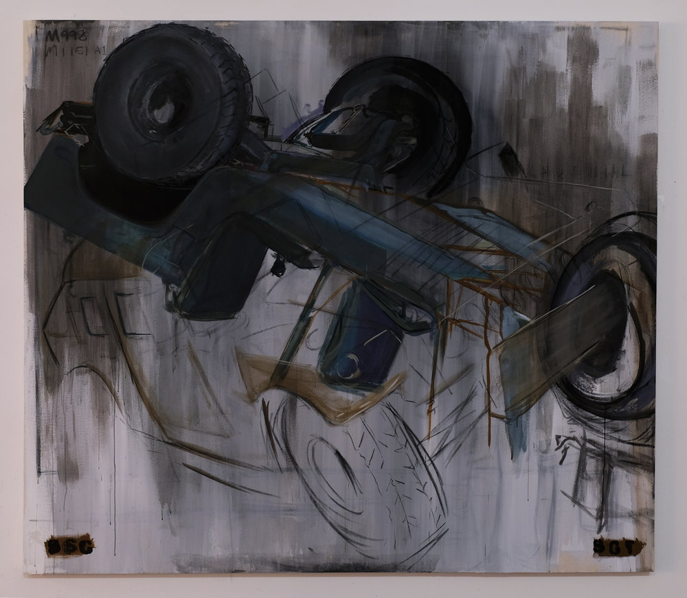 Gerald Sheffield,  genesis II incompetence,  2016, (charcoal, acrylic on canvas), 96 x 84 inches.