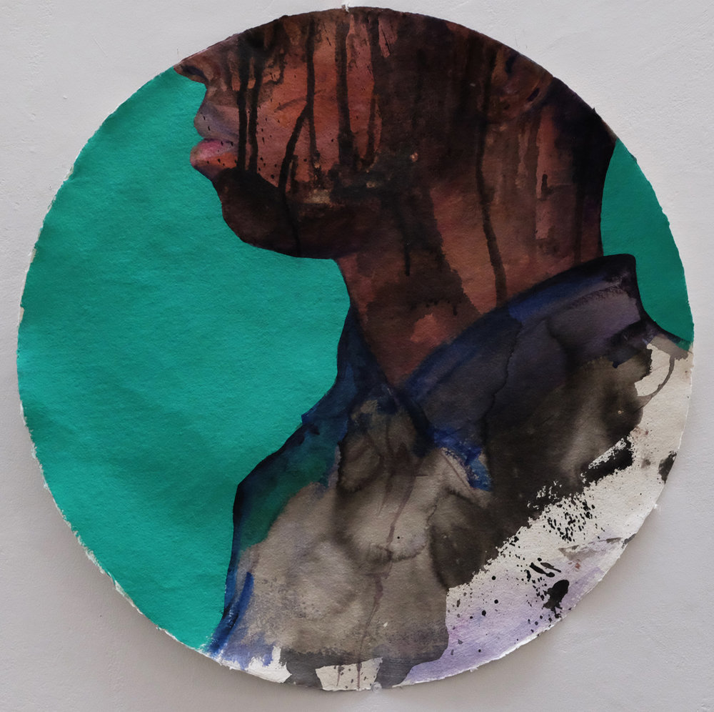 Gerald Sheffield,  you make yourself so big you become a coin , 2016, (Acrylic and Flashe on paper) 22 inches diameter