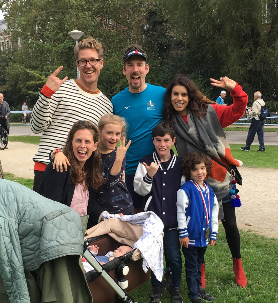 Barry at the end of the Amsterdam 2018 marathon with friends and family