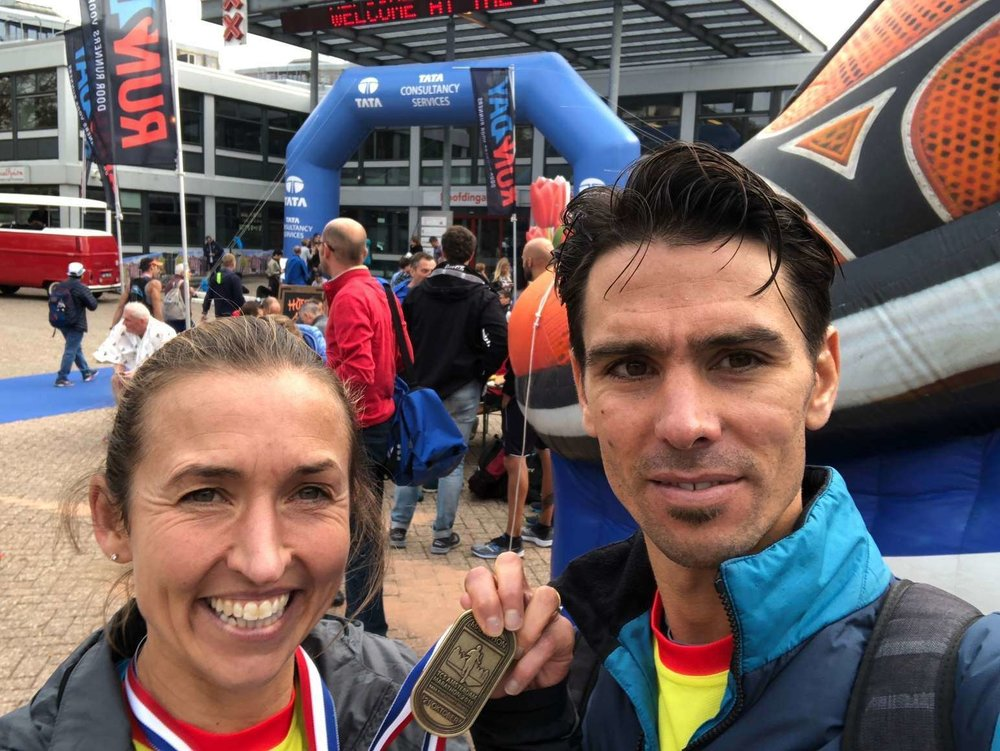 David Grima and his wife compete in many running events together, often finishing in very similar times. Both at the top end of the fields!