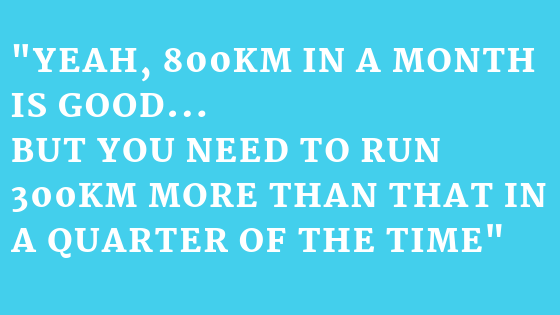 Even though I ran 800km (500 miles) in December, Catherine brought me firmly down to earth by reminding me of how much further I have to run in May 2019!