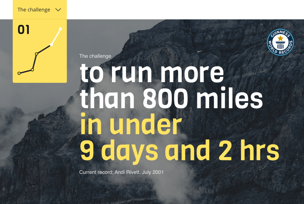 The Challenge - On 25th May 2019, I'll start an attempt to break a world record for running from the bottom of the UK to the top – Land's End to John o' Groats (LEJOG).This means I will need to run around 100 miles a day.- Distance: Nearly 850 miles- Time: Less than 9 days, 2 hours, 26 minutes- Running: Around 100 miles/18 hours per day- Sleep: 4 hours per night