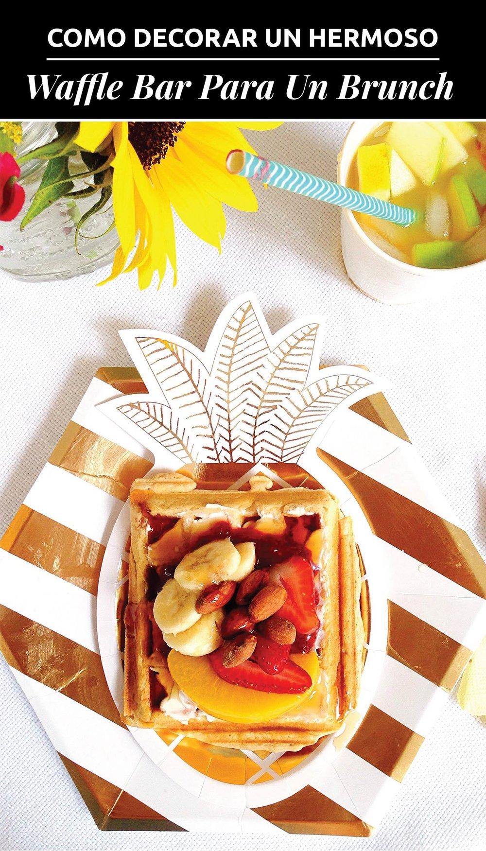 Como Decorar Un Hermoso Waffle Bar Para Un Brunch Con Tresors // ¿Necesitas algunas ideas para crear un brunch? ¿Qué tal un muy divertido y práctico Waffle Bar!? Aprende cómo puedes hacer uno con estos pasos simples!