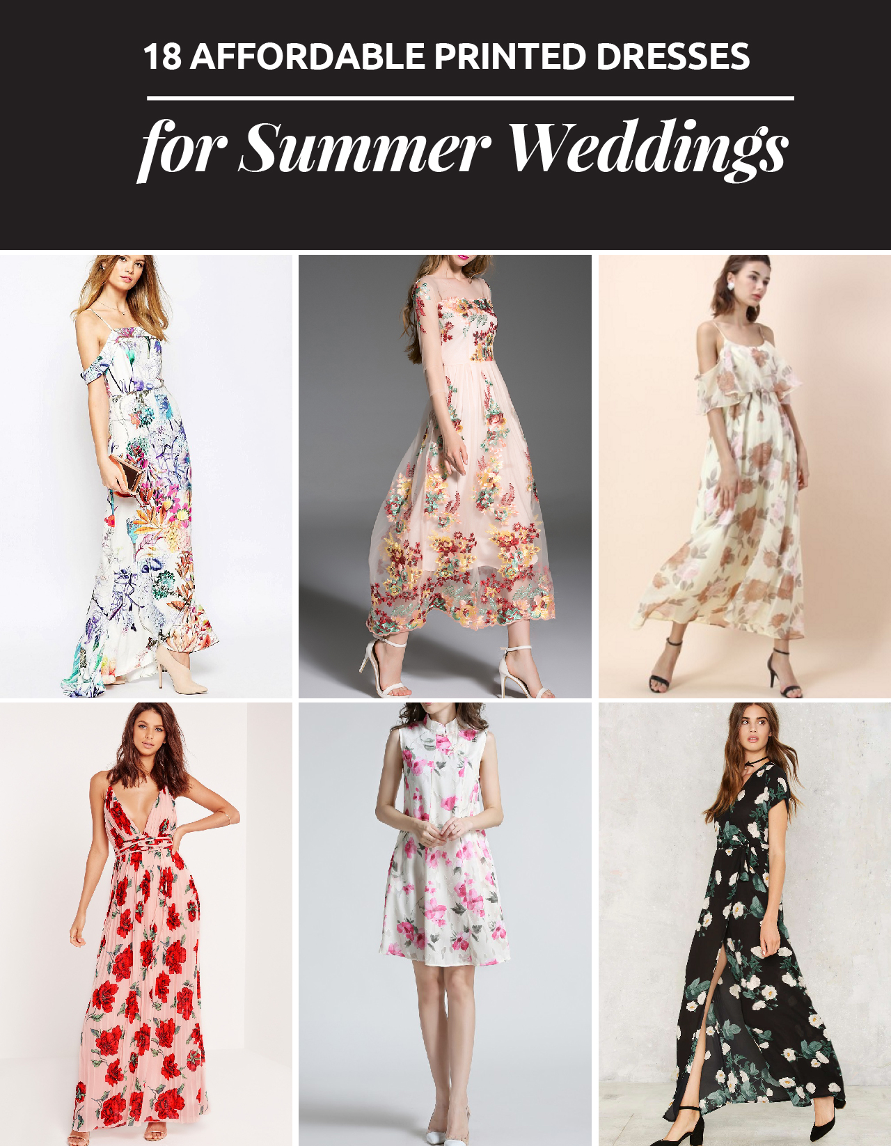 18 VESTIDOS ESTAMPADOS PARA UNA BODA DE VERANO // Las bodas en verano son muy popular porque pueden ser realizadas en el exterior. Encuentra el vestido perfecto para una boda de verano.